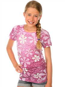 Purple Flower Power Short-Sleeved Tween Burnout