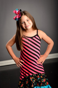 Black & Pink Floral Salmon Sundress With Bloomers