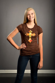 Tween Fall Patchwork Cross Burnout