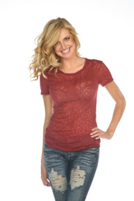Women's Short-Sleeved Burnout Wine
