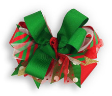 Red & Green Christmas Bow