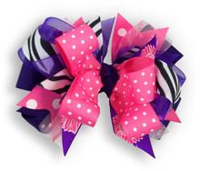 Zebra & Pink Heart Bow
