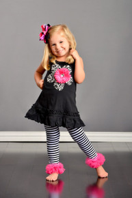Black Flower Dress with Hot Pink Flower
