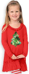 Red & Green Patchwork Christmas Tree Dress