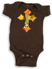 Fall Patchwork Cross Onesie