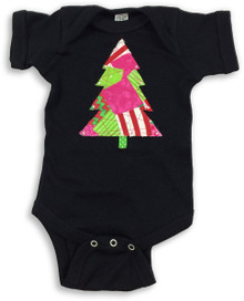 Lime & Pink Christmas Tree Onesie