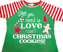 All You Need Is Love and Christmas Cookies Raglan Closeup