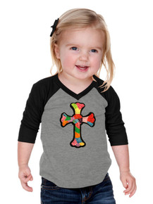 Girls Raglan Patchwork Cross