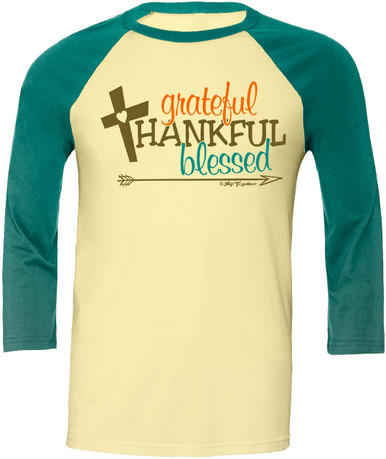 Grateful Thankful Blessed Womens 3/4 Sleeve Raglan