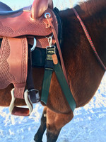 "Saddle Stabilizer portion shown on horse's off-leg clips to saddle front d-ring. Saddle shown is the Colorado Springs ""Memphis"" treeless western."