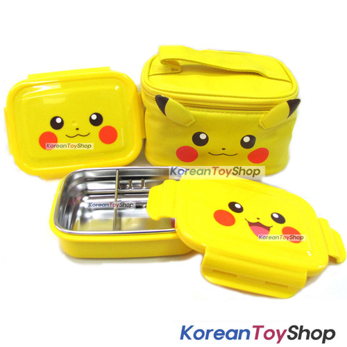 pokemon pikachu stainless steel lunch box 2 tier food container bento w bag koreantoyshop. Black Bedroom Furniture Sets. Home Design Ideas