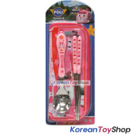 Robocar Poli Stainless Steel Spoon Chopsticks Case Set AMBER PINK Made in Korea