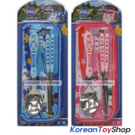 Robocar Poli Stainless Steel Spoon Chopsticks Case 2 Sets / Blue & Pink