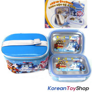 Robocar Poli Stainless Steel Lunch Box 2 Tier Food Container Bento w/ Bag POLI