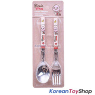 KAKAO Friends APEACH Stainless Steel Spoon & Fork Set Kids BPA Free Made/ Korea