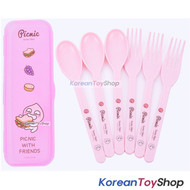 KAKAO Friends APEACH Plastic Spoon Fork 6pcs Case Set for Picnic Made in Korea