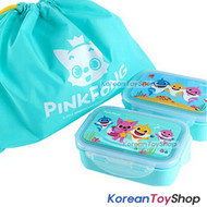 PINKFONG Stainless Steel Lunch Box 2 Tier Food Container Bento w/ Bag Original