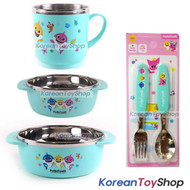 PINKFONG Stainless Steel Bowl 2 pcs, cup 1pcs, Spoon Fork Set BPA Free Original