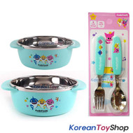 PINKFONG Stainless Steel Bowl 2 pcs, Spoon Fork Set Non-slip BPA Free Original