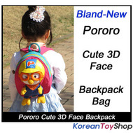 Korean Animation Pororo 3D Face Backpack Bag for Toddler Kids, Pororo Sticker