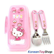 Hello Kitty Stainless Steel Spoon Fork Case Set / BPA Free / Made in Korea