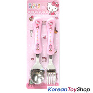 Hello Kitty Stainless Steel Basic Spoon Fork Set / BPA Free / Made in Korea