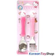 Hello Kitty Stainless Steel Mascot Spoon Fork Set / BPA Free / Made in Korea