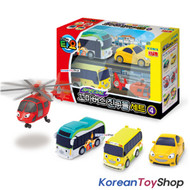 00150 - Little Bus TAYO Friends v.4 Mini Car 4 pcs Toy Set  Shine Air Kinder Peanut NEW