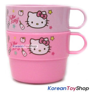 Hello Kitty Cute Handle Cup 2 pcs Set Kids Children / Made in Korea / Pink