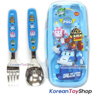 Robocar Poli Stainless Steel Cute Spoon Pork Case Set Poli Model Blue