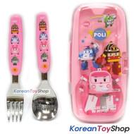 Robocar Poli Stainless Steel Cute Spoon Pork Case Set Amber Model Pink