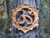 Wood carved Lotus Blossom with Sanskrit OM.