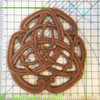 Measurement of the Celtic Peace Knot.  Follow the green line to the left and bottom to find the number of inches.  Subtract one inch because the knot is offset by one inch (so you can see the numbers!) to find the height and width.