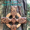 Cross wood burned with a Celtic Harmony Triquetra Knot, Shamrocks and Four Leaf Clover celebrating Irish Heritage!