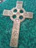 Irish Wedding Cross - Celtic Christian Cross wood burned with Irish Love Knot, Matrimonial Panel, Claddagh and Shamrock