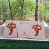Heart Cross Wood Carving Greeting Card by Signs of Spirit, Front, Back and wrapped in clear protective bag.