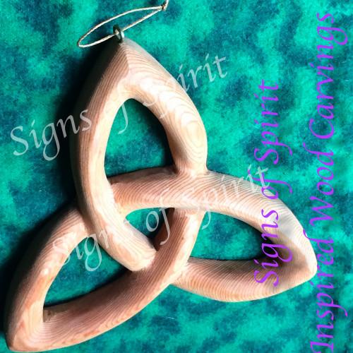 Miniature Trinity Knot-Basic Triquetra-Celtic Goddess-Christian Trinity Wood Carving
