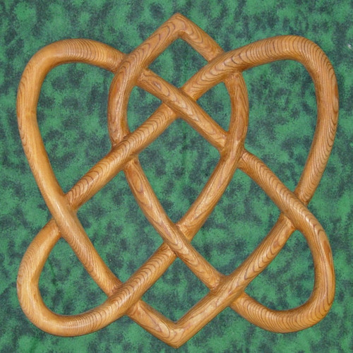 Irish Love Knot-Traditional Celtic Knot-Two Hearts Wood Carving-Eternal Love