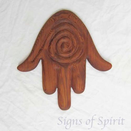 Hamsa with Spiral Symbol of Protection and Blessings-Chamsa Hand of Miriam-Khamsa Hand of Fatima