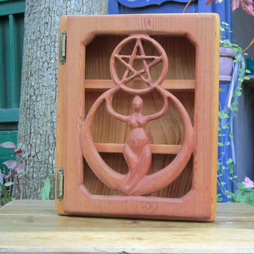 Crescent Moon Goddess  Pentacle Cabinet - Creative-Protection Altar Box