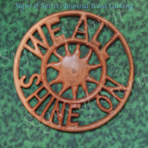 John Lennon We All Shine On Wood Carving with Sunburst