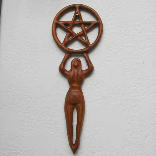 Goddess with Pentacle-Drawing Down the Moon Sacred Feminine Wood Carving