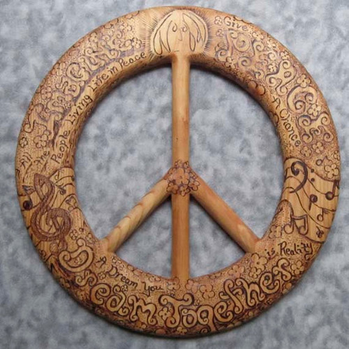 Words of Peace-John Lennon Quotes-Wood Burned Peace Symbol
