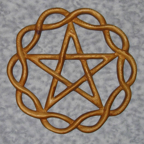 Braided Pentacle wood carving by Signs of Spirit