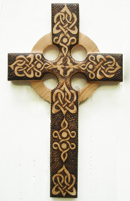 Love and Peace Celtic Christian Cross from Signs of Spirit, wood burned by Katrina.