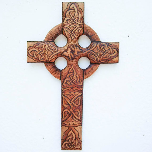 Peace and Harmony Celtic Christian Cross--Traditional Harmony Knot-Peace Doves