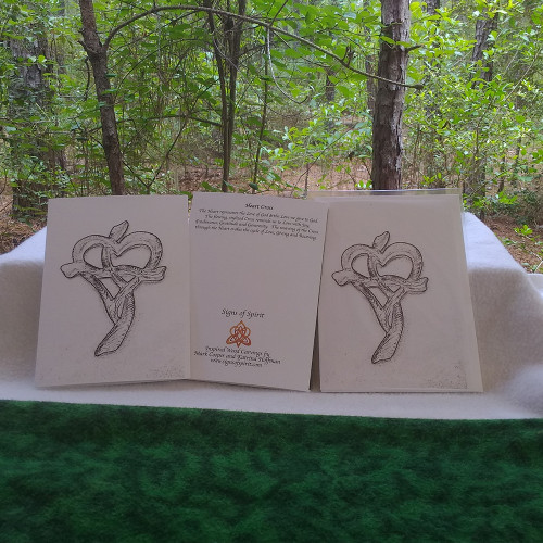 Heart Cross in Charcoal Greeting Card by Signs of Spirit, Front, Back and wrapped in clear protective bag.