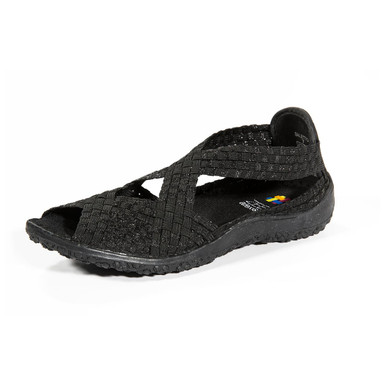 Saletto Black Metallic Woven Sandal
