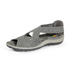 Saletto Pewter Woven Sandal