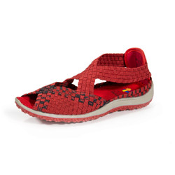 Saletto Red/Black Multi Woven Sandal